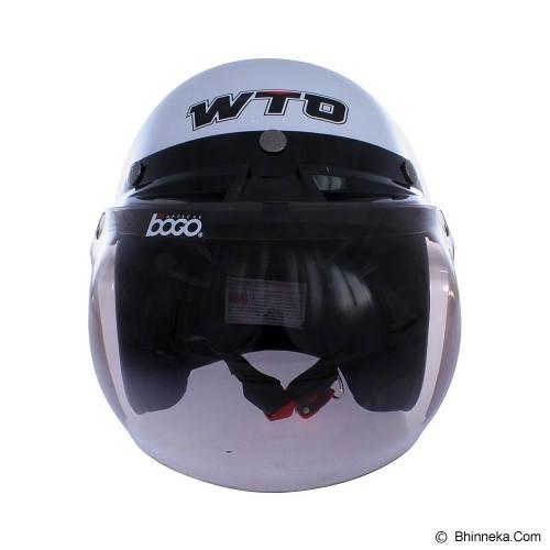 WTO Helmet Retro Classic Size L - Putih Cokelat - Helm Motor Half Face