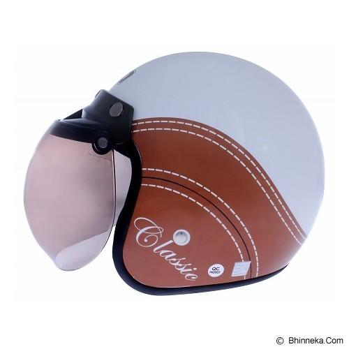 WTO Helmet Retro Classic Size M - Putih Cokelat - Helm Motor Half Face