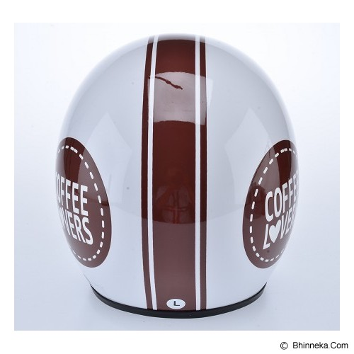 WTO Helmet Retro Coffee Lover Size XL - Putih - Helm Motor Half Face