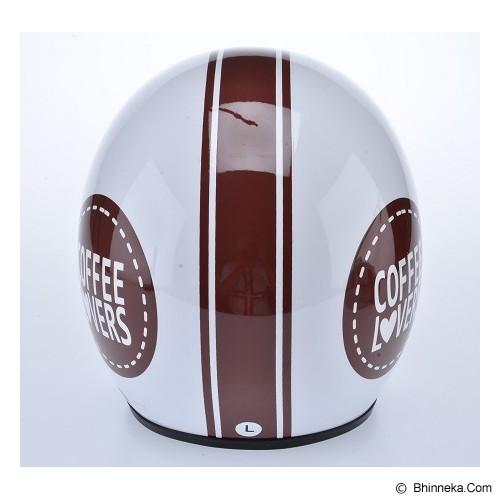 WTO Helmet Retro Coffee Lover Size XL - Putih - Helm Motor Half Face