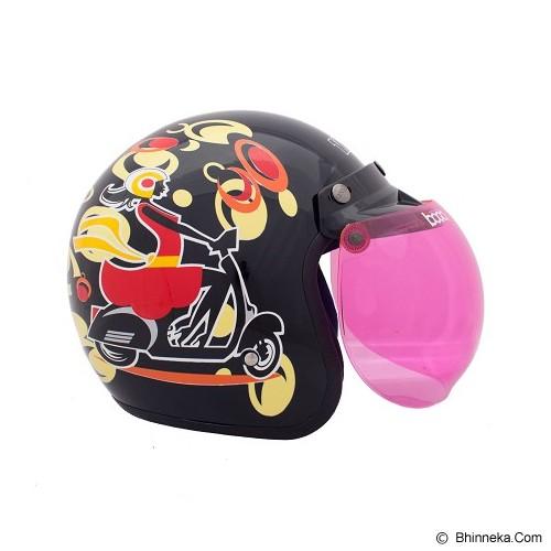 WTO Helmet Retro Girl Size L - Hitam Kuning - Helm Motor Half Face