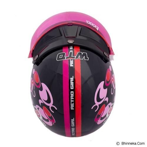WTO Helmet Retro Girl Size XL - Hitam Pink - Helm Motor Half Face