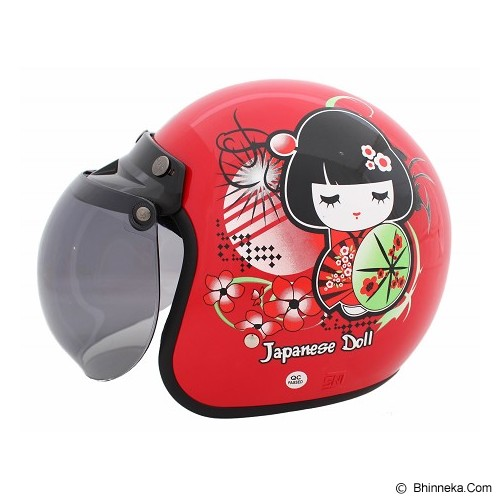 WTO Helmet Retro Japanese Doll Size M - Red - Helm Motor Half Face