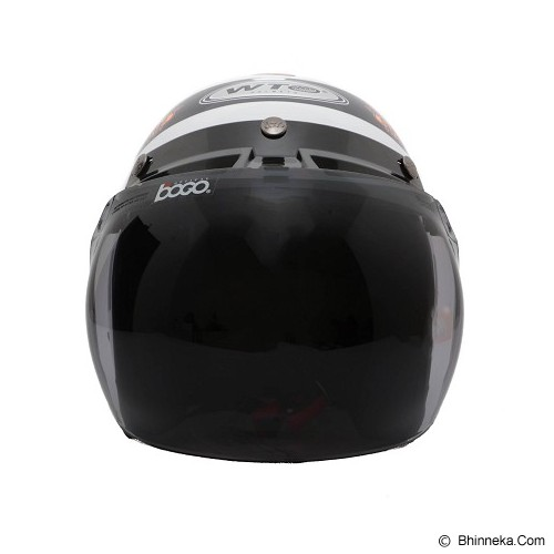 WTO Helmet Retro Stinger Size L - Putih Oren - Helm Motor Half Face