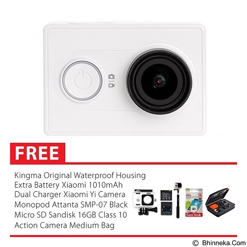XIAOMI Yi Action Camera International Edition Combo Package - White (Merchant) - Camcorder / Handycam Flash Memory