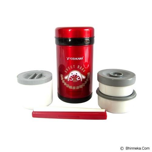 YOSHIKAWA Lunch Box 1 liter [DO100] - Red - Lunch Box / Kotak Makan / Rantang