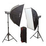VISICO HH Novel Kit 3 Flash Head VC-400 - Softbox and Umbrella