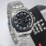 SWISS ARMY Watch[SA1178]-Silver/Black - Jam Tangan Pria Casual
