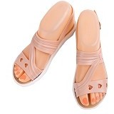 SENDAL UNIK MURAH Flat Jelly Triple Love Shoes Size 36 - Peach - Sandal Casual Wanita
