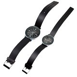 ESA Classical Couple Diamond Leather Band Quartz Watch - Black - Jam Tangan Pria Casual