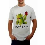 JACKDOW Kaos Distro Android Robot Hijau Size L [T0107] - White - Kaos Pria