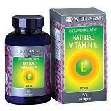 WELLNESS Natural Vitamin E-400 I.U Water Soluble 60 Softgel - Suplement Pencegah Penyakit Jantung / Kolesterol