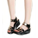 GALLERY FANNY SHOP GWS Size 39 [901] - Black - Wedges Wanita