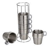 23 MART Coffee Cup Stainless Rak Set Isi 4 (Merchant) - Gelas