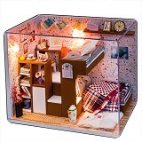 A1TOYS DIY Miniature House Kamar Bunk Bed Lampu & Akrilik FTTD & DR (Merchant) - 3d Puzzle