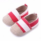 ABBY BABY Stripe Shoes Size S - Red (Merchant) - Sepatu Anak