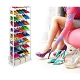 AIUEO Amazing Portable Shoe Rack Foldable 30 Pairs - White - Rak Sepatu