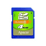 APACER SDHC 4GB - Class 6 - Secure Digital / Sd Card