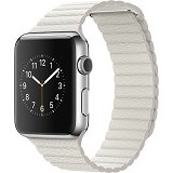 APPLE Watch 42mm Stainless Steel Classic Leather Loop Medium [MMFV2ID/A] - White - Smart Watches
