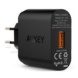 AUKEY USB Turbo Wall Charger 1 Port 18W [PA-U28] - Black (Merchant) - Charger Handphone