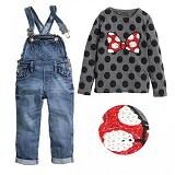 BABYZANIA M 2 Piece Tee and Overall Jeans Set Minnie 110 (4Y) [MC-5H] - Gray - Setelan / Set Bepergian/Pesta Bayi dan Anak