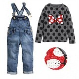 BABYZANIA M 2 Piece Tee and Overall Jeans Set Minnie 95 (2Y) [MC-5H] - Gray