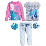 BABYZANIA M 3 Piece Tees and Jeans Set Elsa 120 (5Y) [MC-5B] - Pink and Stripes - Setelan / Set Bepergian/Pesta Bayi dan Anak