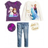 BABYZANIA M 3 Piece Tees and Jeans Set Elsa and Anna 140 (7Y) [MC-5F] - Purple and White - Setelan / Set Bepergian/Pesta Bayi dan Anak
