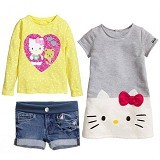 BABYZANIA M 3 Piece Tees and Jeans Set Hello Kitty 100 (3Y) [MC-5K] - Yellow and Gray - Setelan / Set Bepergian/Pesta Bayi dan Anak
