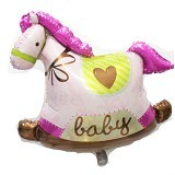 BALON HUT Balon Foil Baby Shower Pony Horse - Pink (Merchant)