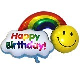 BALON HUT Balon Foil Happy Birthday Rainbow Smile 30 cm (Merchant)