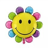 BALON HUT Balon Foil Sun Flower Smile Rainbow (Merchant)