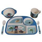 BAMBOO STUDIO Foodware Kids Set Pirate [EDB0005] - Blue - Perlengkapan Makan dan Minum Bayi