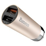 BASEUS CarQ Series Quick Charge 3.0 Dual USB Car Charger - Luxury Gold (Merchant) - Car Kit / Charger