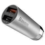 BASEUS CarQ Series Quick Charge 3.0 Dual USB Car Charger - Sky Gray (Merchant) - Car Kit / Charger