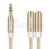 BASEUS Fluency Series 2 in 1 Audio Cable 26CM - Luxury Gold (Merchant) - Cable / Connector Analog