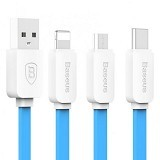 BASEUS String Series Micro USB Lightning Type-C Cable - Sky Blue (Merchant) - Cable / Connector Usb