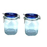 BORMIOLI Fido Blue Top Jar 100Cl Set of 2 [149530 2P] - Toples