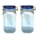 BORMIOLI Fido Blue Top Jar 150Cl Set of 2 [149540 2P] - Toples