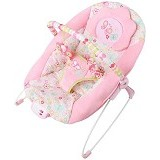BRIGHT STARS Pretty In Flutter Dot Bouncer Music & Vibrate [60250] - Pink - Baby Highchair and Booster Seat