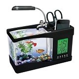 CAKRA NUSANTARA USB Aquarium Desktop With Digital Clock - Black (Merchant) - Akuarium & Wadah Ikan