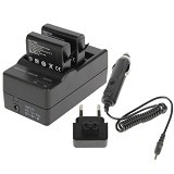 CAMEACS Dual Battery Charger with Car Charger - Camera Power Adapter and Charger