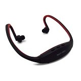 CASHONIT Sports Headset with FM Radio and MicroSD Slot [CSI-OMSK22BQ] - Black/Red - Earphone Ear Monitor / Iem
