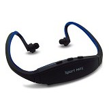CASHONIT Sports Headset with FM Radio and MicroSD Slot [CSI-OMSK22BX] - Black/Blue - Earphone Ear Monitor / Iem