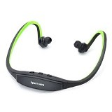 CASHONIT Sports Headset with FM Radio and MicroSD Slot [CSI-OMSK22KG] - Black/Green - Earphone Ear Monitor / Iem