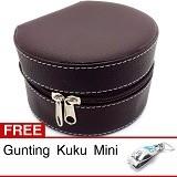 CENTRAL KERAJINAN Kotak Box Perhiasan Kerang - Vinyl Coklat - Jewelry Organizer