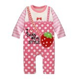 FIRST MOVEMENT Jumpsuit Strawberry Size 3-6M - Baju Bepergian/Pesta Bayi dan Anak