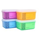 CLARIS Kotak Makanan Bio Sense 2.5L  Set 4 - Mix Color - Lunch Box / Kotak Makan / Rantang