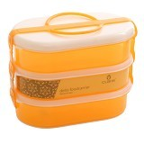 CLARIS Rantang Makanan Delio 750ml Set 3 - Orange - Lunch Box / Kotak Makan / Rantang