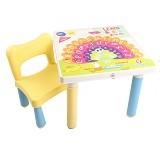 CLARIS et 1 Bangku Anak Kidzone dan Meja Fantastik - Kuning - Meja Belajar